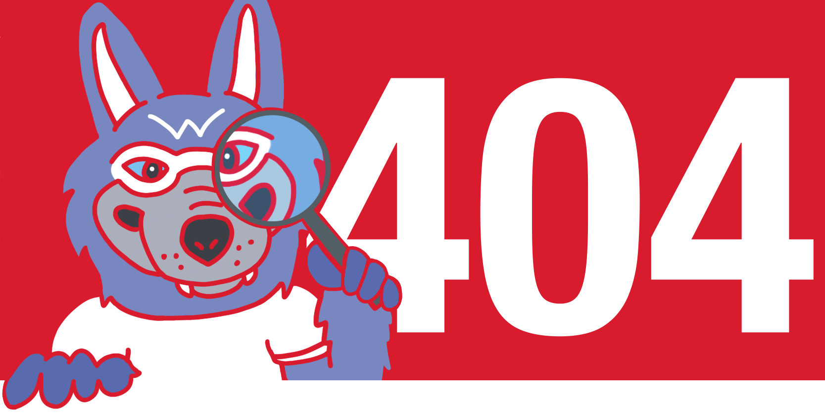 Wolfie holds magnifying glass with 404 error message